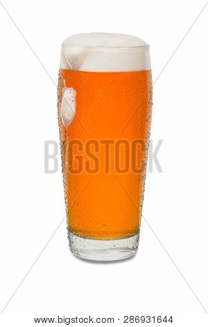 Craft Pub Beer Glass With Dollop Of Foam Running Down Side Of Glass #1.