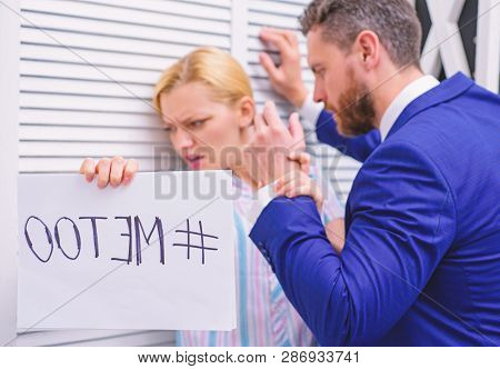 Metoo As A New Movement. Mad At Colleague. Me Too Social Movement. Office Woman And Her Lustful Boss