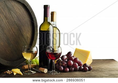 Bottle Of Red And White Wine With Food And Barrel On White Background.