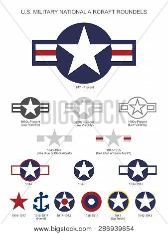U.s. Military National Aircraft Star Roundels, Insignias From 1916 To Present, Isolated Vector Illus