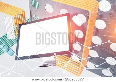 Mock Up Computer Screen, Abstract Background Graph