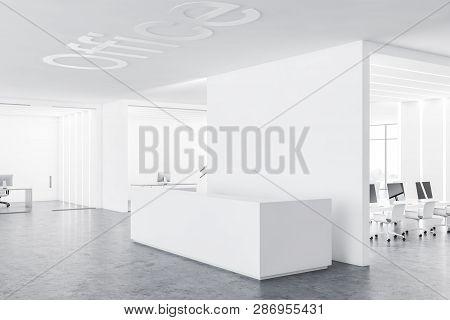White Reception Desk In Modern Office