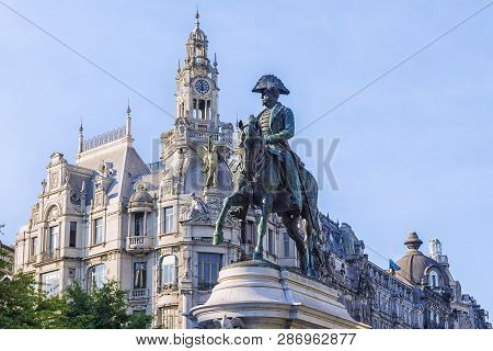 Porto, Portugal-august 29 2016: Monument To Don Pedro Iv In Porto, Portugal