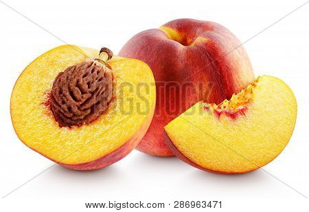 Group Of Ripe Whole Peach Fruit With Half And Slice Isolated On White Background. Peaches With Clipp