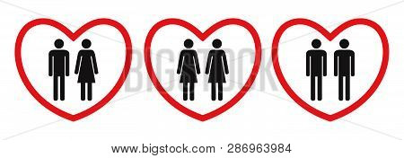Homosexual And Heterosexual Love Icons. Flat Style. Black And White Human Figures In Red Hearts. Vec