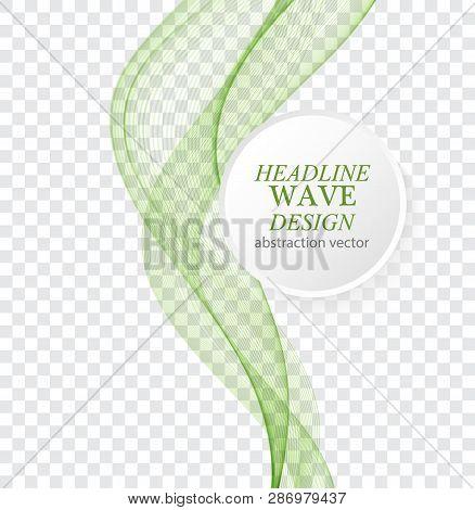 Abstract Vector Background, Green Waved Lines For Brochure, Website, Flyer Design.