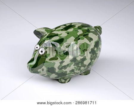 Military Camouflage Painted Piggy Bank Isolated On Gray Background, 3d Illustration
