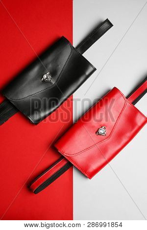 Flat lay composition of stylish bum bags on color background poster