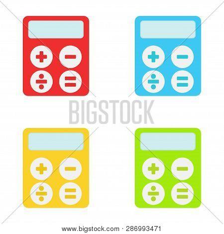 Calculators. A Collection Of Multi-colored Calculators. Vector Illustration. Eps 10.