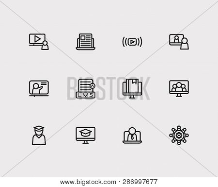 Webinar Icons Set. Education E-learning And Webinar Icons With Webinar Online, Video Interview And W
