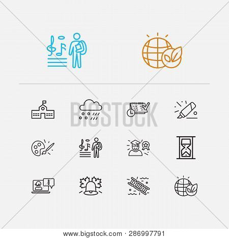 Distant Education Icons Set. Meteorology And Distant Education Icons With Timetable, Hourglass And G