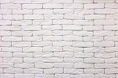 Close-up of white painted whitewashed solid brick wall. Abstract copy space background, Bricklaying, construction and masonry concept. poster