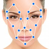 Asian woman portrait biometric facial recognition software app technology for face identity verification identification concept. Blue dots for scan illustration graphic design. poster