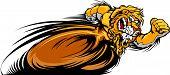 Speeding Lion Running with hands Mascot Vector Illustration poster