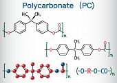 Polycarbonate (PC) thermoplastic polymer molecule. Structural chemical formula and molecule model. Vector illustration poster