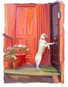 illustration of dog waiting to get ih his home poster