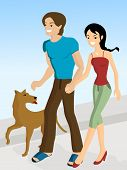 Illustration of a Couple Walking with a Dog poster