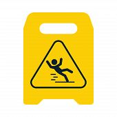 Beware of slippery. Yellow sign. Caution. Slippery. Logo. Vector illustration. EPS 10. poster