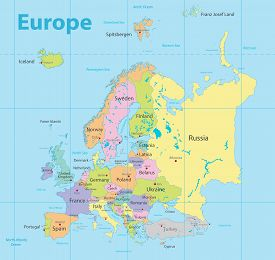 Europe Map Colorful, New Political Detailed Map, Separate Individual States, With State City And Sea