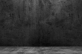 Concrete Wide Dark Wall With Floor Texture Background