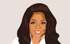 Feb, 2019: Famous Tv Host, Actress, Philanthropist Oprah Winfrey Vector Portrait