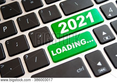 Note Year 2021 Loadingwritting On Green Button On Computer Keyboard. New Year Concept