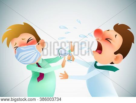 Funny Cartoon Sick Man Sneezing And Coughs On A Healthy Man In Mask. Vector Illustration