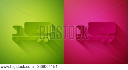 Paper Cut Tanker Truck Icon Isolated On Green And Pink Background. Petroleum Tanker, Petrol Truck, C