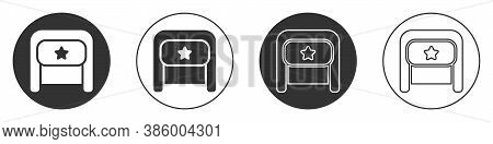 Black Ushanka Icon Isolated On White Background. Russian Fur Winter Hat Ushanka With Star. Soviet Un