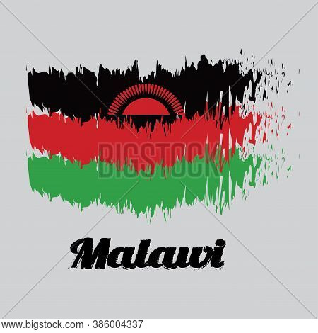 Brush Style Color Flag Of Malawi, Black Red And Green; Charged With A Red Rising Sun Centred On The