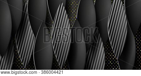 Geometric Layered Background. Paper Textured Objects On The Black Embossed Background. Vector Eps10