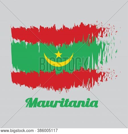 Brush Style Color Flag Of Mauritania, Two Red Stripes Flanking A Green Field With A Golden Crescent