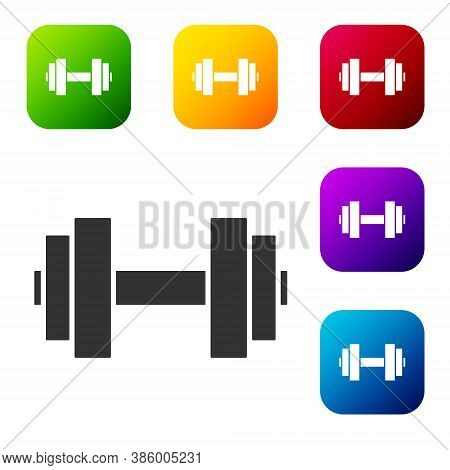 Black Dumbbell Icon Isolated On White Background. Muscle Lifting Icon, Fitness Barbell, Gym, Sports