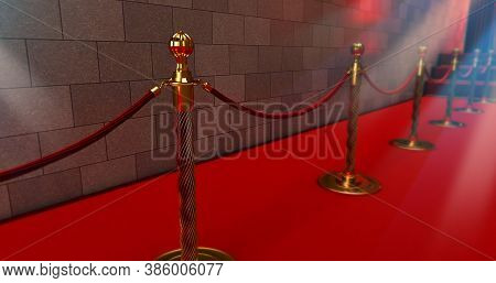 Long Red Carpet Between Rope Barriers On Entrance. Way To Success On The Red Carpet. 3d Render