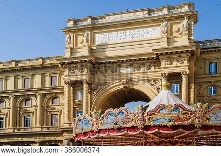 Florence, Italy - February 11, 2018: Piazza Della Repubblica (republic Square) In Florence, Italy, W