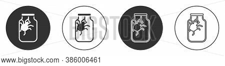Black Spider In Jar Icon Isolated On White Background. Happy Halloween Party. Circle Button. Vector