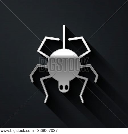 Silver Spider Icon Isolated On Black Background. Happy Halloween Party. Long Shadow Style. Vector