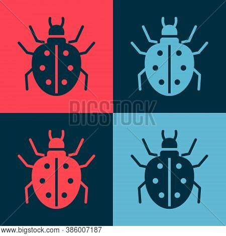 Pop Art Mite Icon Isolated On Color Background. Vector