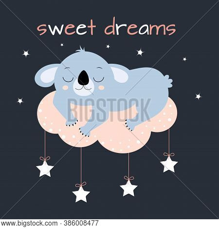 Vector Illustration With Little Cartoon Koala, Cute Koala Is Sleeping Sweetly On Cloud Isolated On D