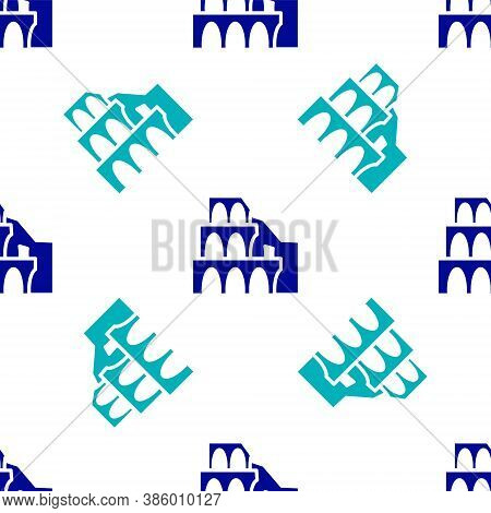 Blue Coliseum In Rome, Italy Icon Isolated Seamless Pattern On White Background. Colosseum Sign. Sym