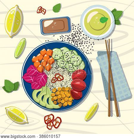 Poke Bowl With Salmon And Vegetables Eps 10 Vector Graphics In Flat Style.