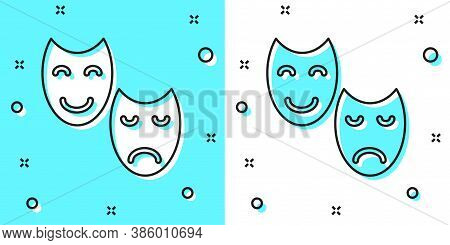 Black Line Comedy And Tragedy Theatrical Masks Icon Isolated On Green And White Background. Random D
