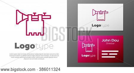 Logotype Line Trumpet With Flag Icon Isolated On White Background. Musical Instrument Trumpet. Logo