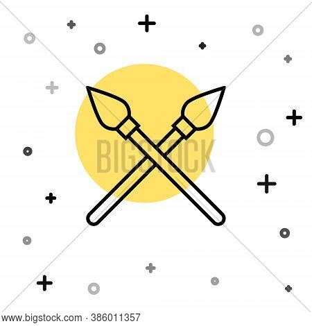 Black Line Crossed Medieval Spears Icon Isolated On White Background. Medieval Weapon. Random Dynami