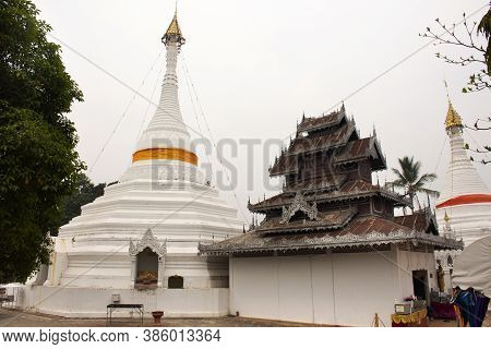 Stupa Chedi And Buddha Statue For Thai People And Foreign Travelers Travel Visit Respet Pray At Phra