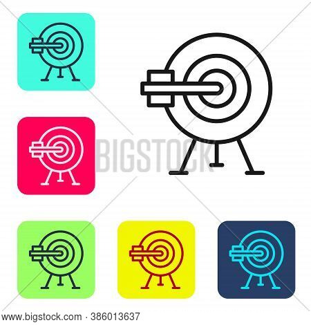 Black Line Target With Arrow Icon Isolated On White Background. Dart Board Sign. Archery Board Icon.