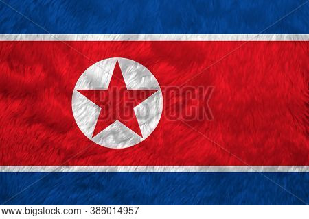 Towel Fabric Pattern Flag Of North Korea, Crease Of North Korean Flag Background, Horizontal Red Whi