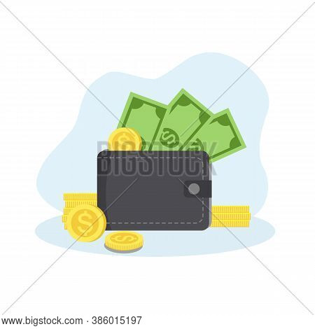 Men Or Woman Wallets With Money Shopping. Purse With Cash And Stack Of Coins. Business And Finance S