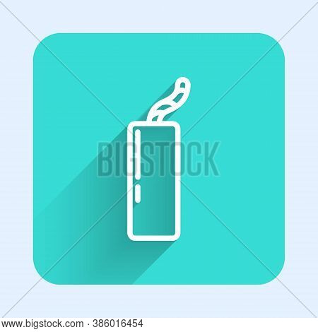 White Line Detonate Dynamite Bomb Stick And Timer Clock Icon Isolated With Long Shadow. Time Bomb -