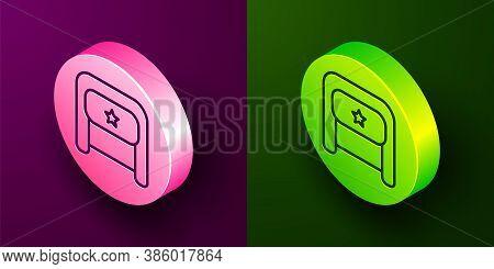 Isometric Line Ushanka Icon Isolated On Purple And Green Background. Russian Fur Winter Hat Ushanka